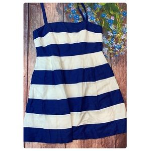 Loft Blue and White Striped Fit and Flare Dress 12